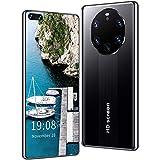 FJYDM Teléfonos Móviles, Teléfonos Inteligentes De 12 GB + 512 GB Desbloqueados, Pantalla De Alta Definición De 7.1 Pulgadas, 5G Dual SIM, Android 10, Teléfonos con Identificación Facial,Negro