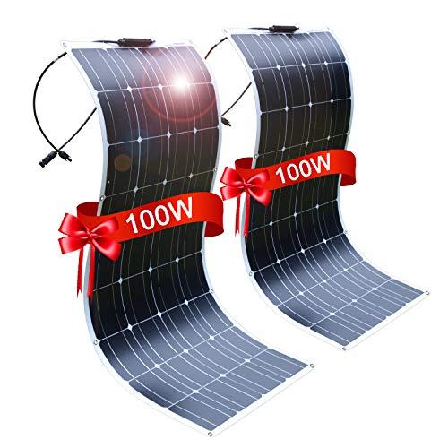 2PC DOKIO Pannello Solare Fotovoltaico Monocristallino 100W 12V FLESSIBILE PORTATILE per Giardino Camper Roulotte Tetto RV Barca Auto Rimorchio Cabina
