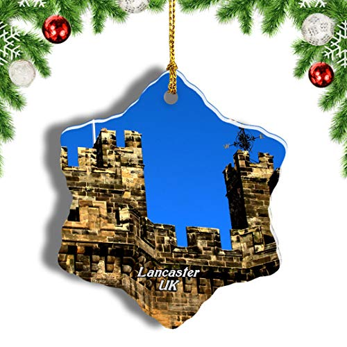 Weekino UK England Lancaster Castle Christmas Ornament Travel Souvenir Tree Hanging Pendant Decoration Porcelain 437' Double Sided