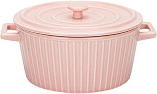 MDZF SWEET HOME Ceramic Baking Bowl for Oven Large Round Casserole Noodle Bowl Bakeware with Handle and Lid, Pink