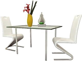 Tidyard Sillas de Comedor para Cocina Cantilever en U Cuero Artificial Pack de 2, Blanco 45,5 x 63 x 101 cm