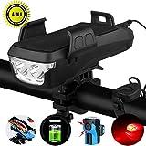 YABIN 4 in 1 Multifunktion Solar Fahrradlicht Led Set,Enthalten Licht Fahrrad Vorne,Fahrrad Handyhalterung,USB Outdoor Powerbank 4000mah,Fahrradklingel and Rücklicht Fahrradbeleuchtung(Black USB)