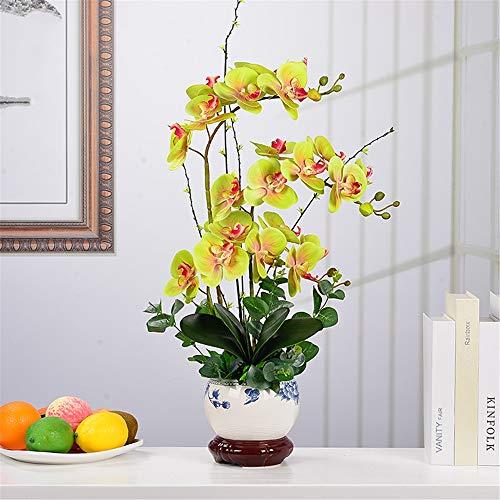 TINANF Künstliche Blumen Orchidee mit Keramik Vase Gefälschte PU Real Touch Blumen Phalaenopsis Bonsai für Dekoration Tabelle Office Home Bonsai-Party,Grün