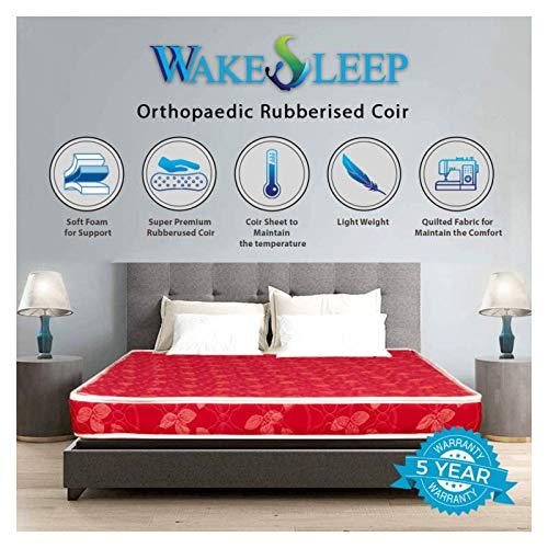 Wake Sleep Coir Mattress 4 Inch Back Support Orthopaedic Care, Twil Breathable Fabric Mattresses, Single Size Mattress (72x48x4 Inch)
