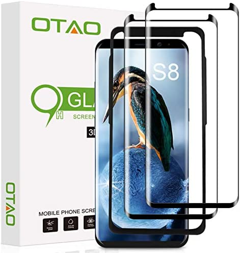 Galaxy S8 Screen Protector Tempered Glass 2 Pack OTAO 3D Curved Dot Matrix Glass Screen Protector product image