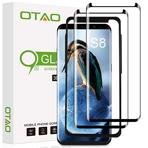 Galaxy S8 Screen Protector Tempered Glass (2 Pack), OTAO 3D Curved Dot Matrix Glass Screen Protector for Samsung Galaxy S 8 with Installation Tray [Case Friendly]