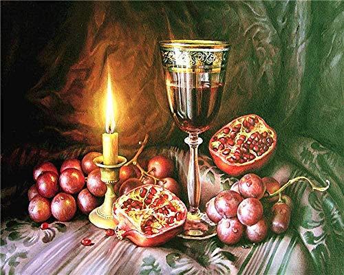 Nuevo producto kit de pintura al óleo / pintura por números / sin marco / decoración del hogar pintura muy significativa-copa de vino de granada