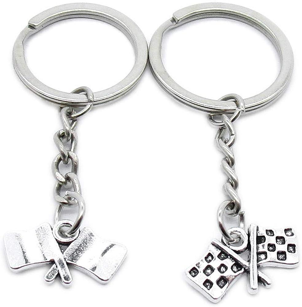 Metal Antique Silver Color Keychains Max 75% OFF Flag Racing Super intense SALE BJ6H7 Keyrings