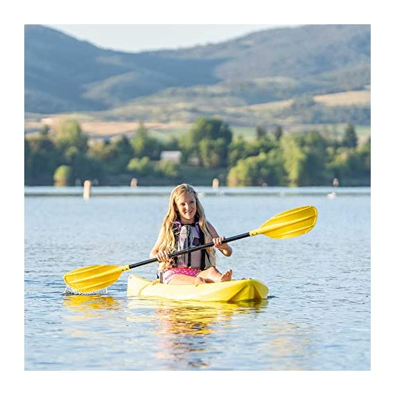 Lifetime 6 Foot Yellow Youth Kayak 7 Ergonomic cockpit design enhances balance and motor skills Molded finger handles on each side of the kayak Reverse chine for enhanced stability with swim-up step