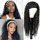 Curly Headband Wig Human Hair for Black Women, Brazilian Curly Human Hair Headband Wigs Glueless None Lace Front Headband Wigs Machine Made Wigs 150% Density Natural Black (14')