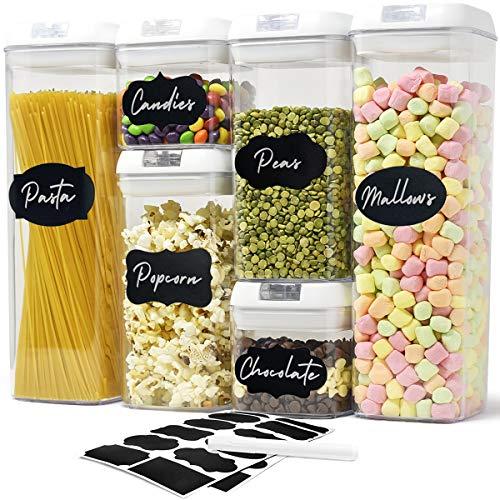 6 Contenitore per alimenti ermetico - Porta Pasta barattoli plastica, Contenitori Pasta Ermetici - Etichette e Pennarello per Gesso, Perfetti per conservare Gli Alimenti SECCHI e FRESCHI!