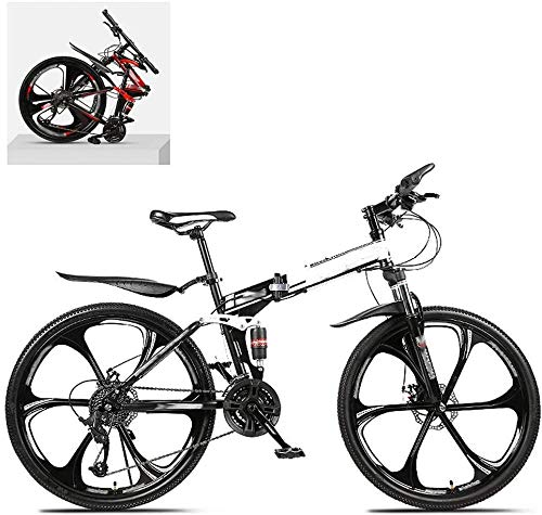 Bicicleta de montaña plegable de 24 pulgadas con marco de acero de alto carbono doble absorción de choque 21/24/27/30 velocidad variable todo terreno rápido