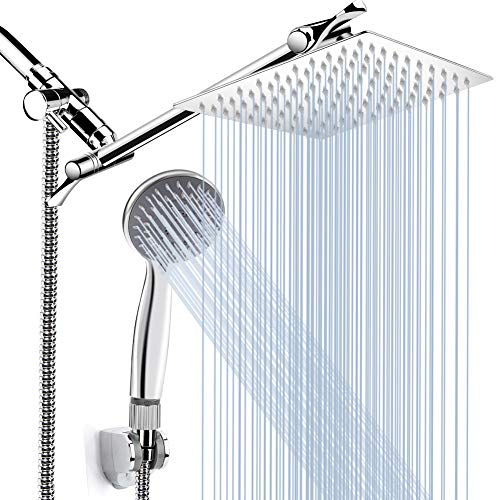 8'' High Pressure Rainfall Shower Head/Handheld Shower Combo with 11'' Extension Arm, Height/Angle...