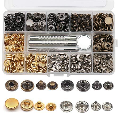 Ailiver 120 Set Metall Druckknöpfe Druckknopf Leder Snaps mit Fastener Tool, Druckknopf, Knöpfe Leder Nieten für für Bekleidungs-Reparatur, Jacken,4 Farben 12,5 mm Durchmesser