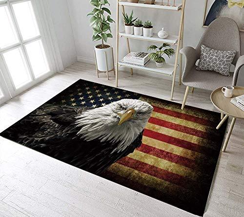 Kurzflor Wohnzimmer Teppich Gelb-Rote Flagge Schwarz-Grauer Adler Teppiche für Wohnzimmer Outdoor Carpet Kinderzimmer Schlafzimmer Flur Läufer I rutschfeste Unterseite 140x200 cm
