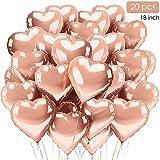 TOPHOPE Herzluftballons Herzballons Herz Folienballon Rosegold 20 Stück, Rose - Ideal als Hochzeitsdeko, Geburtstagsdeko oder Partydekoration (Rosegold-20pcs)