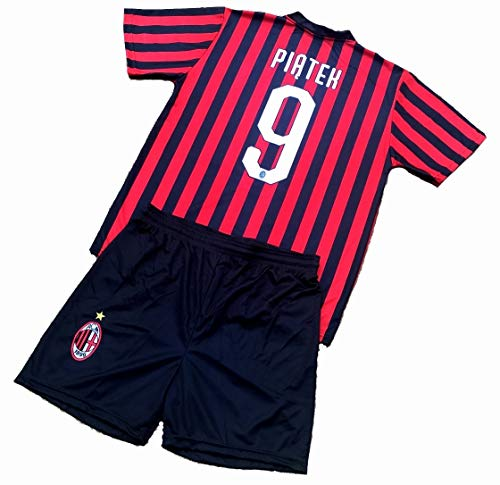 Completo PIATEK 9 Milan Ufficiale 2019-20 Bambino Uomo Adulto Maglia + Pantaloncini Pantaloncino Completino Home 9 Krzysztof Piątek PIONTEK (10 Anni)
