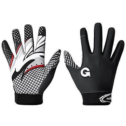 Football Gloves Ultra Stick Sports Receiver Glove Best Ball Grip Adult Football Gloves Youth Football Receiver Gloves(Black, L)