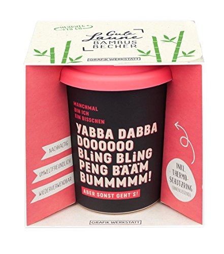Grafik Werkstatt Bambus Kaffe-Becher | Coffee-to-Go | Geschenk | Bamboo-to-Go | Dankeschön | 350 ml | Yabba Dabba Dooooo