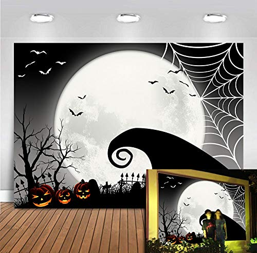 Hallowmas Party Supplies The Nightmare Before Christmas Photography Backdrop Vinyl 7x5ft Bats Pumpkin Patch Full Moonlight Halloween Scary Party Banner Baby Shower Photo Background Photo Shoot Spider