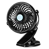 TriPole Clip On Fan Stroller Fan Battery Operated Portable Fan Stepless Speed 360 Degree Rotation Small Desk Fan with Strong Clamp Personal Table Fan for Baby Crib Treadmill Car