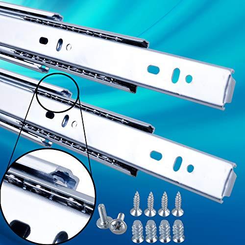 Schubladenschienen 2 STÜCK VOLLAUSZUG Rollenauszug Teleskopschiene Schubladenauszug H: 45 / L: 350 mm | Tragkraft 45 kg/Paar |Kugellager mit Stahlkäfig|