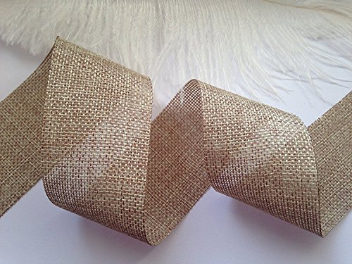 Burlap Ribbon Natural 50mm Hessian Jute Weave Ribbon 2 Meters