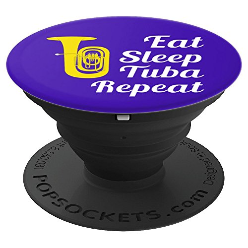 Tuba Player Gift - Eat Sleep Tuba Repeat - Blue PopSockets Grip and Stand for Phones and Tablets