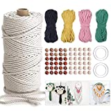 120M Natural Macrame Cord 3mm 5Colors Cotton Rope Kit for Wall Hanging Woven Tapestry Plant Hangers Knitting Dream Catchers Knitting Handmade Cotton Thread with 4 Metal Rings and 100 Wooden Beads