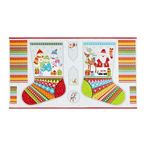 Andover/Makower UK Festive 2019 Festive Stocking Multi Quilt Fabric