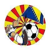 Runde Wanduhr Bosnien und Herzegowina Fußballspieler mit Flaggenball dekorativ für Zuhause, Büro, Schule 9,8 '