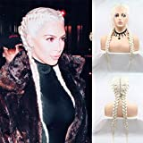 Karissa Hair Kardashian Hairstyle Double Braided Wigs for Women Platinum Blonde Lace Front Wig Long Synthetic Hair Twist Braids Drag Queen Wigs Female Cosplay Party Use 22inch
