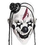 Faroot Deluxe Horrible Scary Clown Mask Máscara Hombres adultos Látex Cabello blanco Halloween...