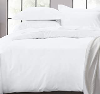 White Duvet Cover Full / Queen - 400 Thread Count Sateen Weave 3 Piece Bedding Set, 100% Pure Cotton Comforter Cover and T...