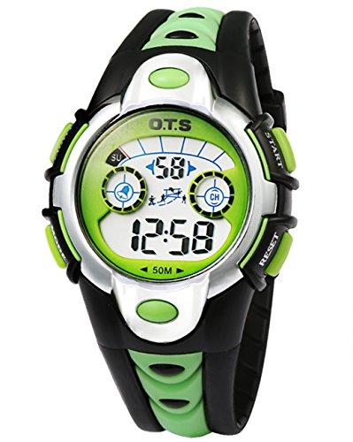 OTS - Reloj Digital Deportivo Impermeable Luminoso de Cuarzo con Alarma para Niños y Estudiantes - Color Verde