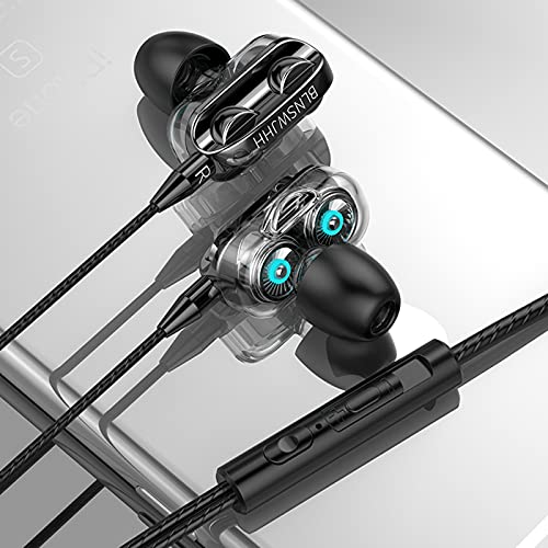 Earbuds Headphones Stereo in-Ear Earphones with Microphone, 3.5mm Super Bass Headset Noise Isolating, Wired Ear Buds Compatible with Android Phone Tablet Laptop Devices (A, Black)