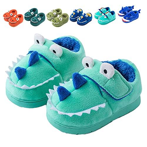 Fadezar Zapatillas De Estar por Casa para Niñas Niños Invierno Pantuflas Animales Antideslizantes Cálido Slippers 17 Verdes EU 23/24 (Tamaño de la etiqueta160)