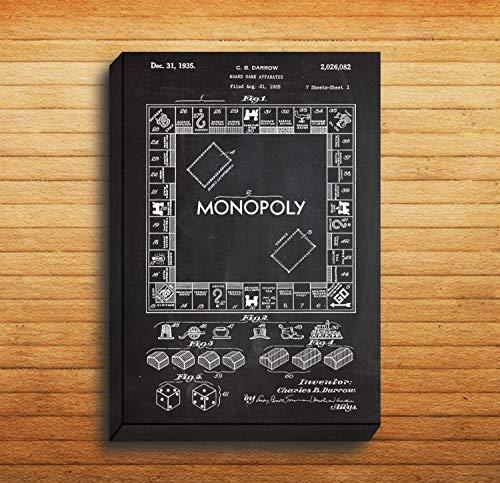 Monopoly Druck auf Leinwand, Monopoly Patent Monopoly Art Monopoly Blueprint Monopoly Wall Art p1442