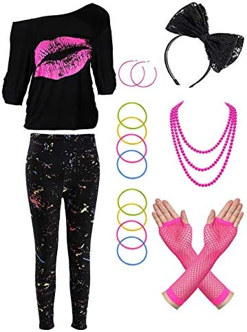 80s Costume Accessories Set T Shirt Leggings Tutu Lace Headband Earring Necklace Leg Warmers product image