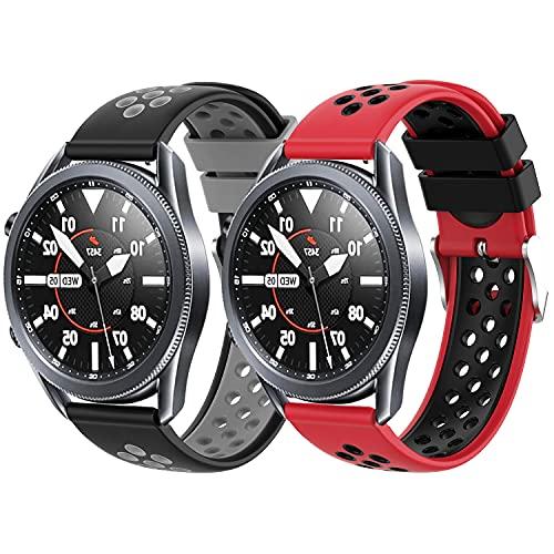 Braleto Correa Compatible con Samsung Galaxy Watch3 45 mm, Correa de Reloj Deportiva de Silicona de Repuesto para Galaxy Watch3 45 mm/Galaxy Watch 46 mm/Gear S3 Frontier/Classic (Serie 3)