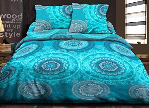 Le linge de Jules Housse de Couette 220x240 + 2 taies Pur Coton 57 Fils Mandala Turquoise