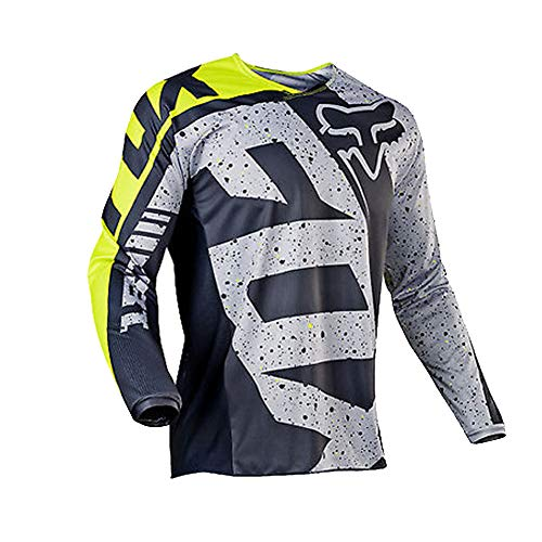 Men Cycling Jersey, Long Sleeve Biking Cycle Tops Quick Dry Breathable Mountain Bike MTB Shirt Racing Bicycle Clothes (Black,M)