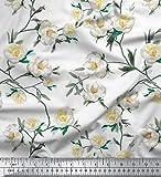 Soimoi Weiß Seide Stoff Blätter & Magnolie Blumen- Dekor