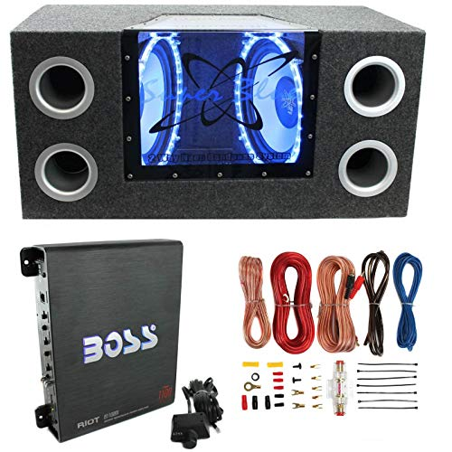 "Pyramid BNPS122 12""1200W Car Audio Subwoofer + Box + 1100W Mono Amp +Wiring Kit"