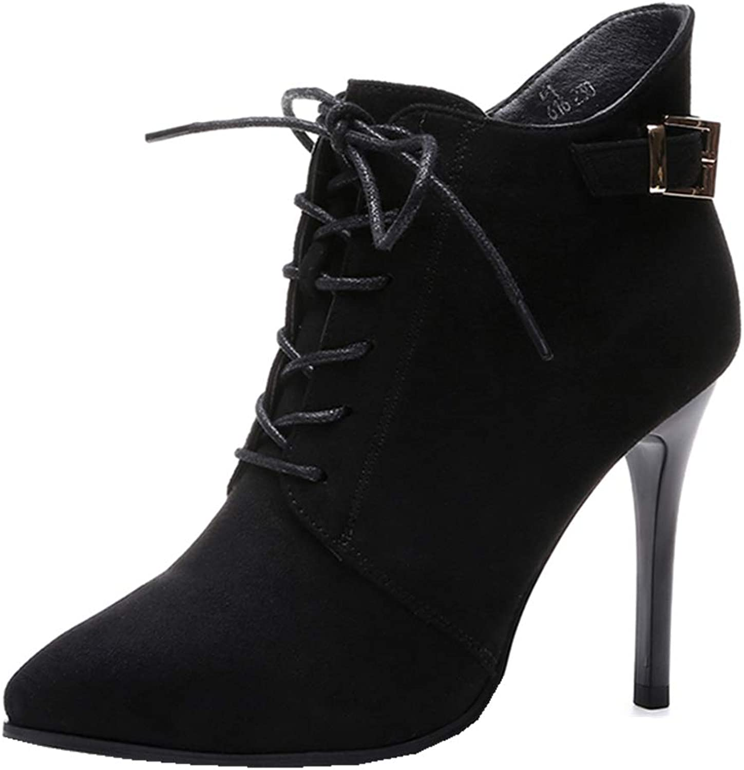 Women's Sexy Pointed Toe Stiletto Lace Up Zipper High Heels Ankle Martin Boots Black (Black, US 7)
