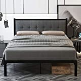 SHA CERLIN Queen Bed Frame, Platform Bed Frame with Strong Metal Slats and Upholstered Button Tufted Square Stitch Headboard, Mattress Foundation, No Box Spring Needed, Easy Assembly, Dark Grey