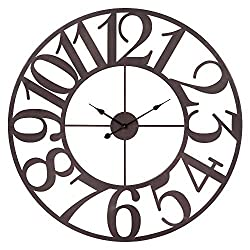 Patton Wall Decor 40 Inch Oversized Bronze Metal Cut Wall Clock, Brown