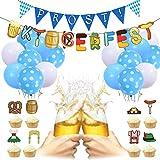 Amycute Oktoberfest Dekoration Set, Oktoberfest Party Dekorationen mit Bayrisch Wimpelkette 18 Blau...