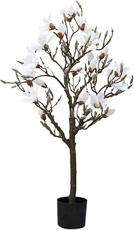 Amazon Com Fevilady Artificial Tree Simulation Tree Artificial Tree Large Magnolia Tree Home Decoration Artificial Green Plant Bonsai Decoration Artificial Tree Fake Trees Color White Size 120cm Home Kitchen