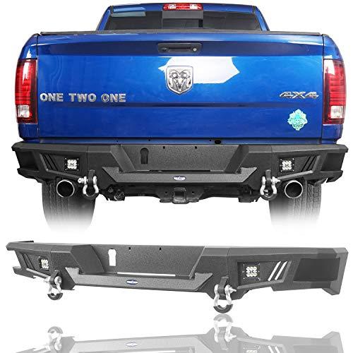 u-Box Dodge Ram 1500 Rear Bumper Heavy Duty Rear Step Bumper Guard w/2 ×18W LED Floodlights for 2009-2018 Dodge Ram 1500 P/U Trucks